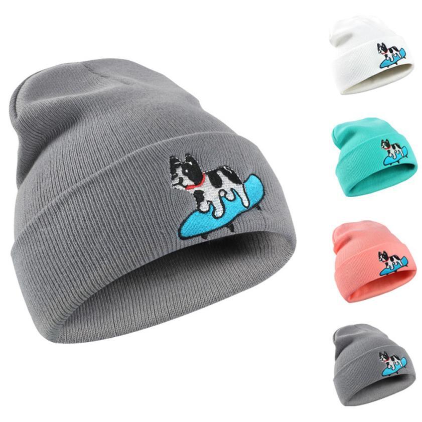 942f4827d8b Winter Hat Women Men Dog print Pattern Knitted Hip Hop Warm Baggy Cap Hat  Bone feminino Casquette homme Headdresses for women -in Skullies   Beanies  from ...