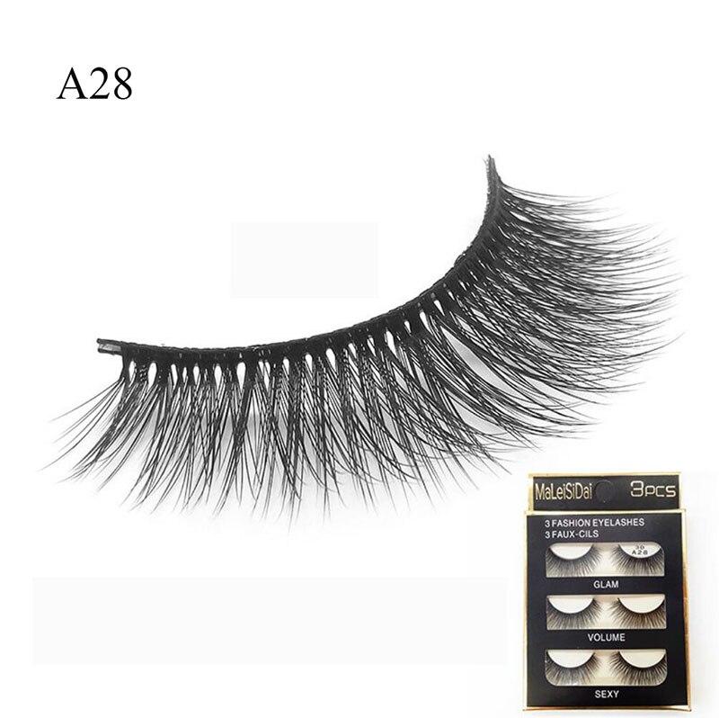 A28 3 Pairs Sexy 3D Eyelash Natural Long Fake Eye lashes Makeup Thick Mink Faux Eyelashes False Eye Lashes Extension Tools
