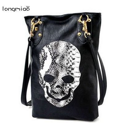 longmiao Skull Messenger Bag Promotional Ladies Luxury Leather Handväska Skelett Head Handväskor Snake Pattern Bag Malas Femininas
