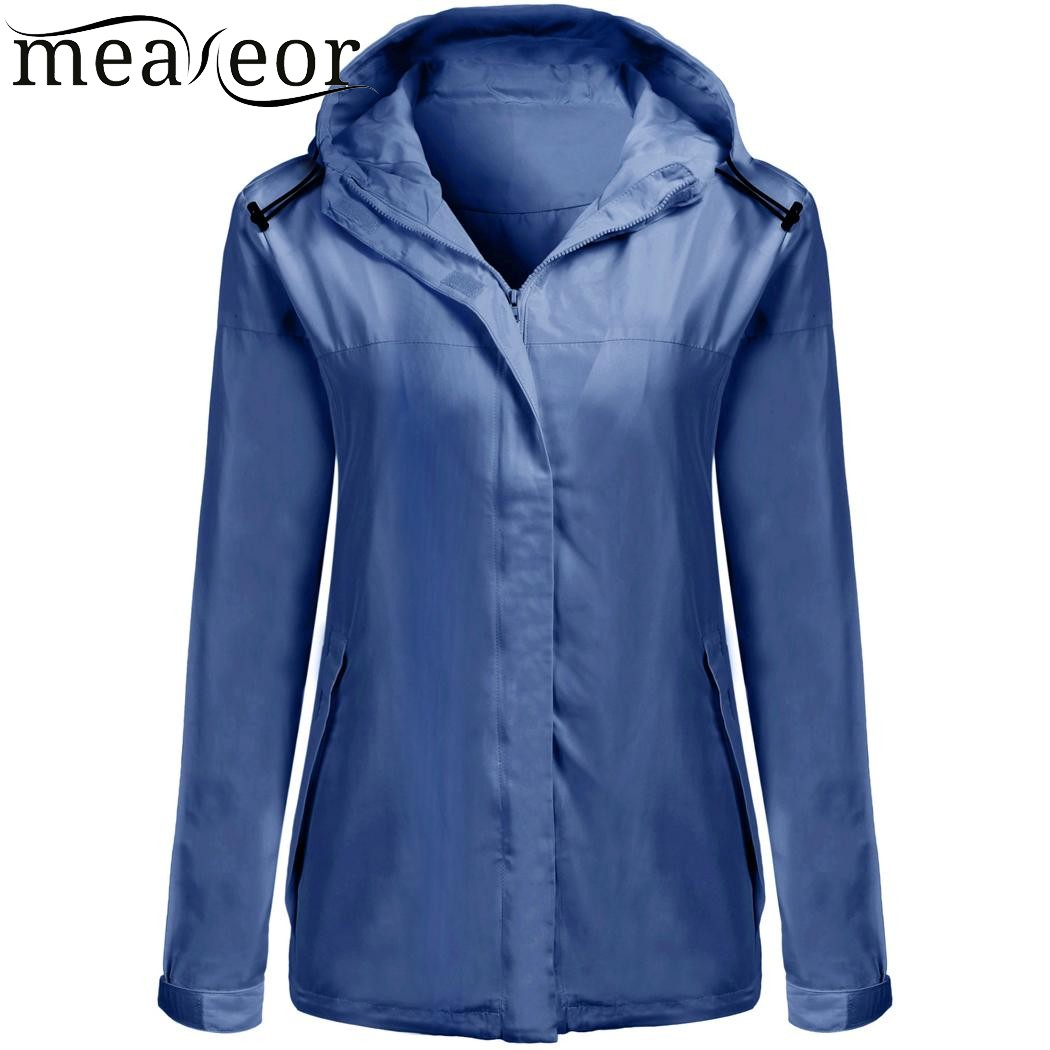 Meaneor 2017 New Women Autumn Jacket Coat Waterproof Hooded Long Sleeve Solid Roam Rain Coats Warm Winter Jackets Windbreaker