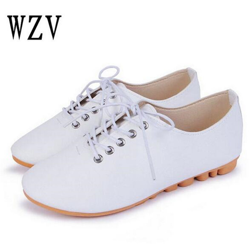 2018 Spring Summer New Leather Women Shoe Casual Leather Shoes For Women Flat Shoes White Ladies Lacing Loafers Zapatos Mujer sweet women high quality bowtie pointed toe flock flat shoes women casual summer ladies slip on casual zapatos mujer bt123