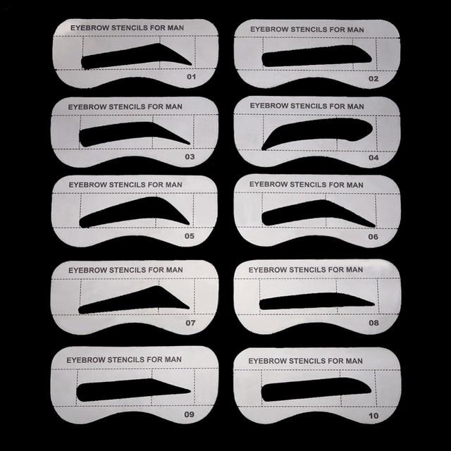 10pcs/lot Eyebrow Stencils 10 Styles DIY Eyebrow Shaper Eyebrow Drawing Guide Card Brow Grooming Template Card Eye Makeup Tool 3