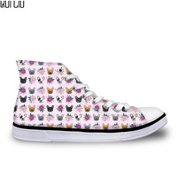 Cute Flats Shoes Women Classic High top Casual Shoes Veterinarian French bulldog flowers florals Print Lace Up Canvas Vulcanize
