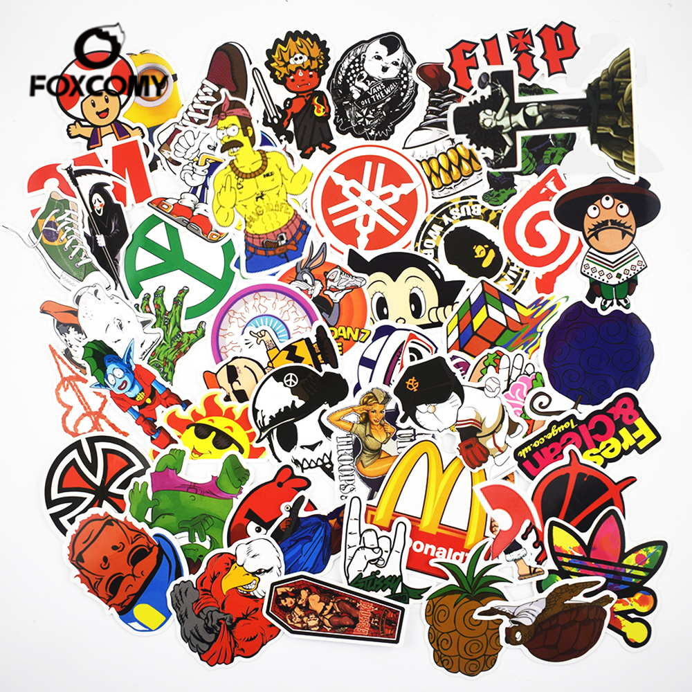 50 Pcs/pack Mixed Classic Style Fashion Graffiti Stickers For Car&Phone Case Vinyl Laptop Stickers Refrigerator Decoration Skin
