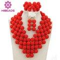 Joyería de Los Granos africanos Set Nigeriano Perlas Africanas de la Boda Joyería Nupcial Rojo de Las Mujeres Pendiente Y Collar Set Joyería AMJ264