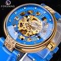 Forsining 2019 женские механические Автоматические часы  брендовые Роскошные Синие часы из натуральной кожи  модные золотые часы с каркасом