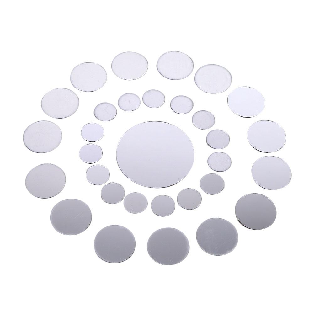 unids d diy plateado ronda moderno espejo de pared pegatinas sala de decoracin para el