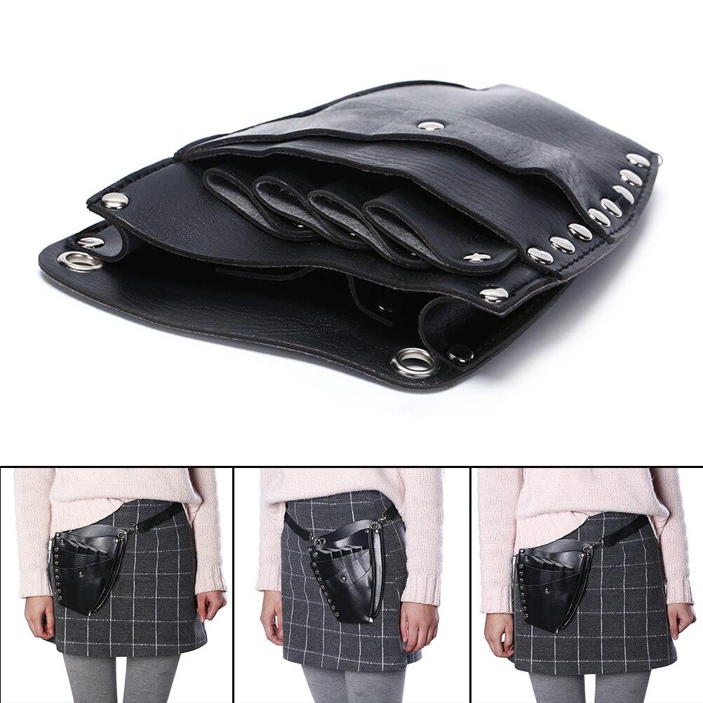 1pcs PU Leather Hairdressing Holster Pouch Holder Rivet Clips Bag With Waist Shoulder Belt Barber Hair Scissor Bag Hair Tool