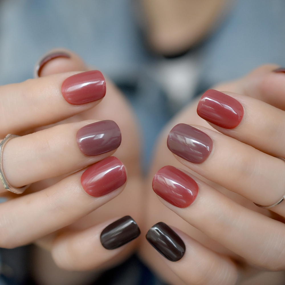 Mix Color Short False Nails Tips Red Brown Black Full Cover Artificial UV Fake Nail for Home Office faux ongles