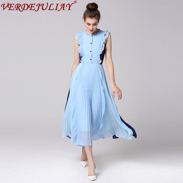 c499d4fed213 Women Dresses 2019 Fashion Summer Color Patchwork Sleeveless Ruffles Long  Top Light Blue Holiday Pleated Dress