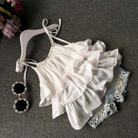 Sommer Mode Baby Kleidung Trainingsanzug für mädchen kinder Chiffon Perle Weste Shirt + Jean Shorts 2 teil/satz kinder kostüm sport anzug