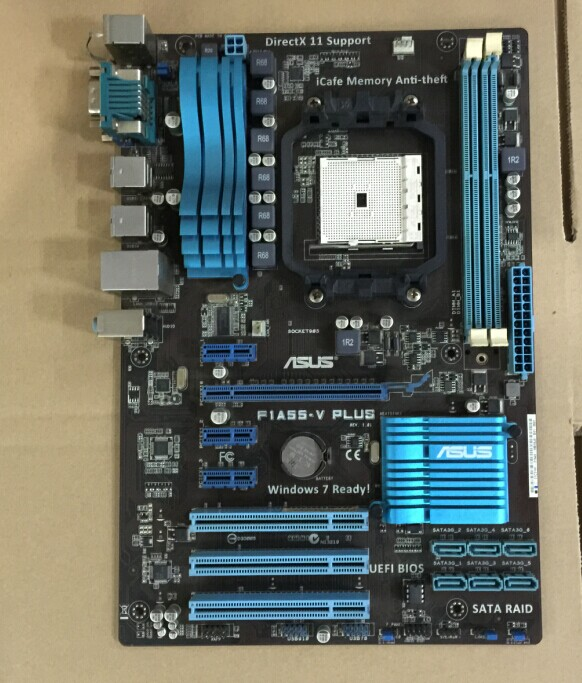Used,Asus F1A55-V PLUS Original Used Desktop Motherboard AMD A55 Socket FM1 DDR3 16G SATA2 USB2.0 original used desktop motherboard for asus p5ql pro p43 support lga7756 ddr2 support 16g 6 sata ii usb2 0 atx