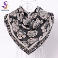 BYSIFA Grey Floral Hijab Scarves Muslim Ladies Headscarves High Quality Winter Twill Square Scarves Brand Multi Satin Head Scarf