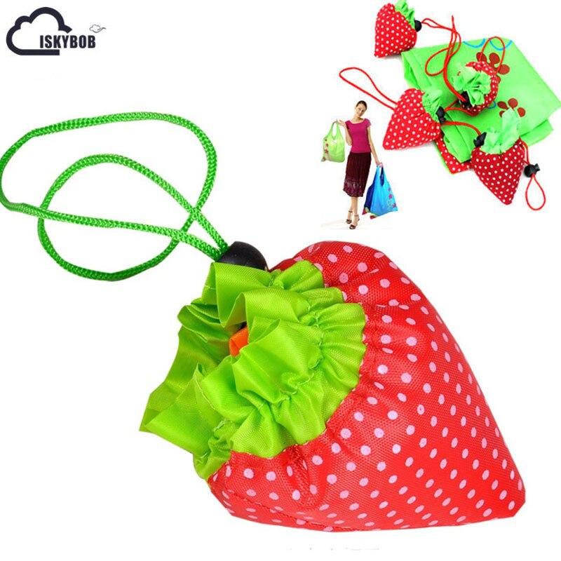 1PCS Random Color Cute Strawberry Shopping Bags Foldable Tote Eco Reusable Storage Handbag Nylon new style cartoon fruit lemon eco bag useful nylon foldable reusable shopping bags
