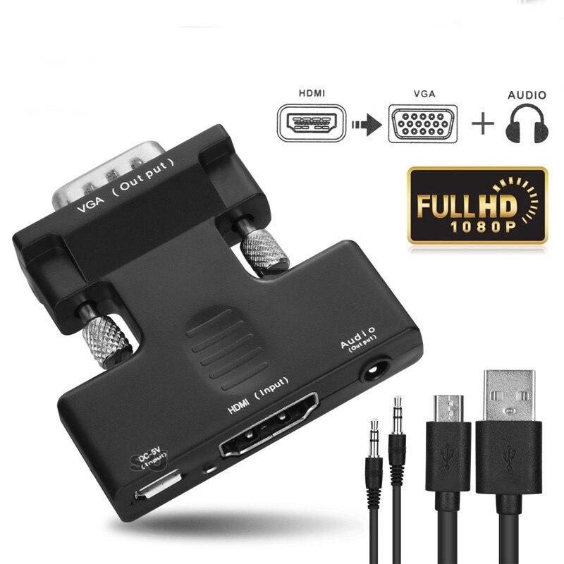 Mais novo hdmi para vga adaptador 1080 p digital para analógico áudio conversor de vídeo cabo com alimentação externa para pc hdtv projetor monitor