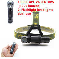 SHUOLIDE 1000LM 10 Watt LED CREE XPL V6 Scheinwerfer Mini Weißes Licht Kopf Lampe Taschenlampe 18650 Batterie Scheinwerfer Für Camping angeln
