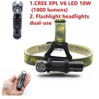 LM 10 W Reflektor LED CREE V6 XPL SHUOLIDE Mini Białe Światło Reflektorów Czołówka Latarka 18650 Bateria Na Kempingu wędkarstwo