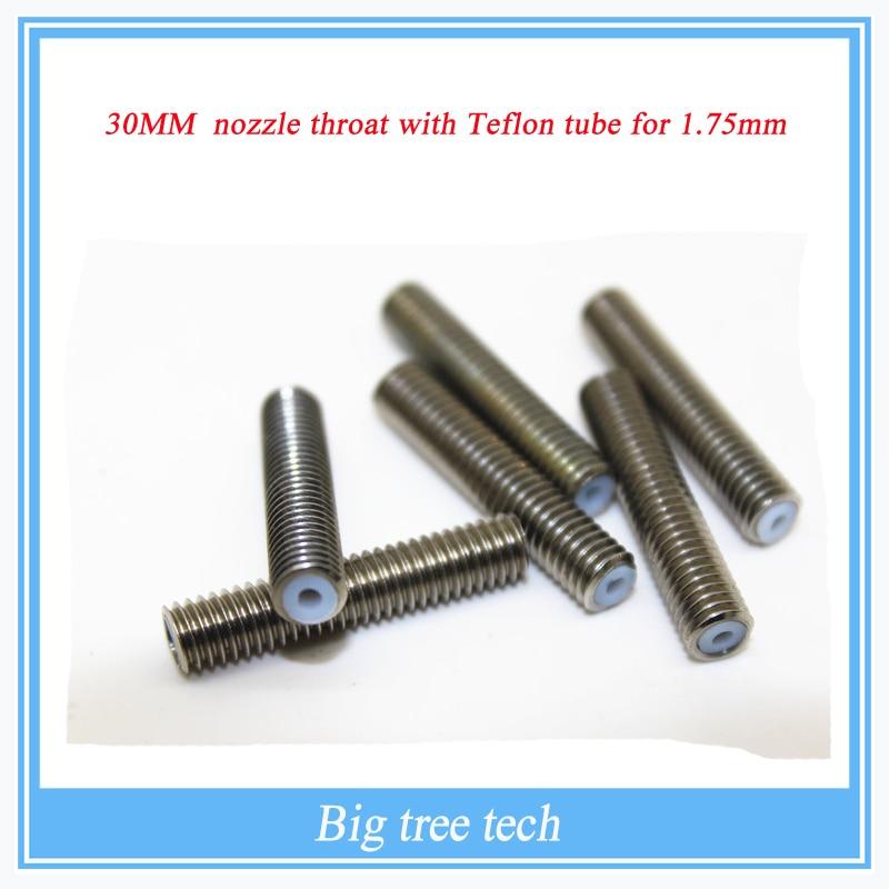 5PCS RepRap 3D Printer M6*30mm barrels printer nozzle throat with Teflon tube 1.75mm