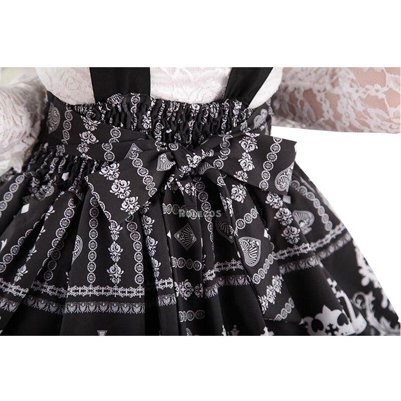 9e04d49fd3ad91 € 61.11 |ROLECOS Nouvelles Femmes D'été Sweet Lolita Taille Haute Jupe Avec  Bretelles Japonais Noir Couronne Imprimer Jupe dans Jupes de Mode ...