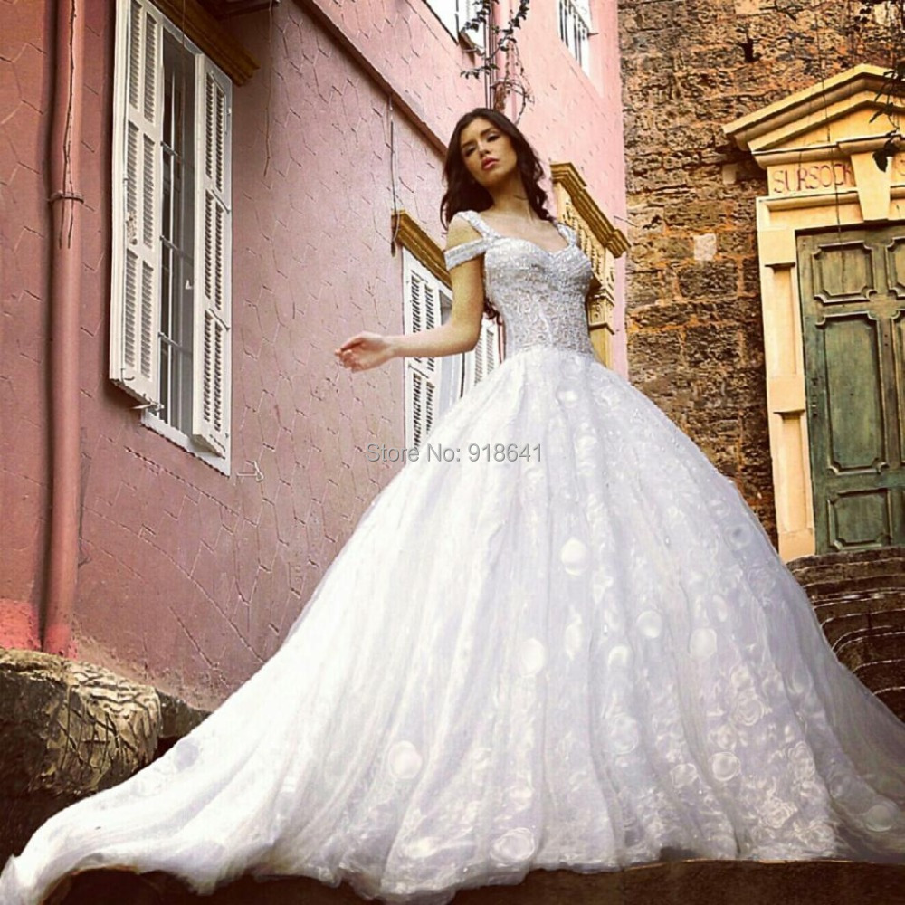 Vintage Ball Gown Wedding Dresses with Cap Sleeves 2015 Tulle Lace ...