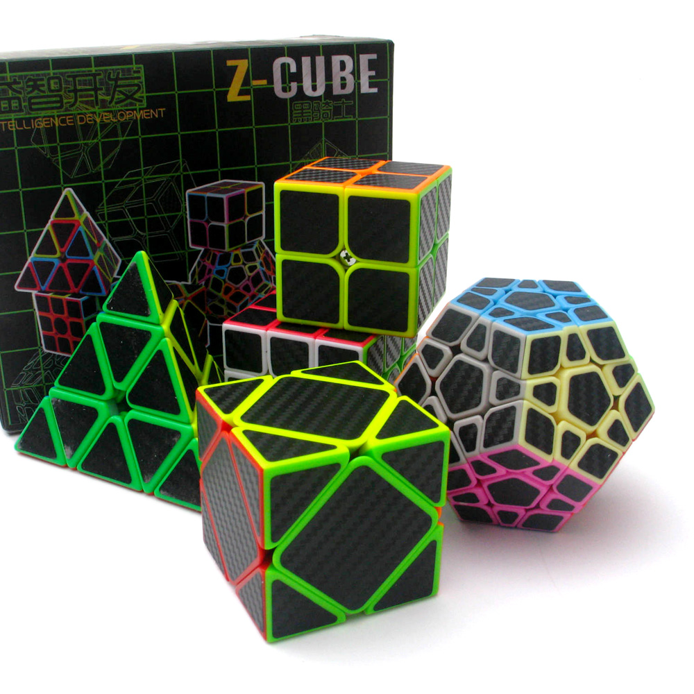 Professionnel Cube Puzzle Ensemble Z CUBE 5 pièces Pyramide Dodécaèdre Cube En Fiber De Carbone de Vitesse Magique Cube Jouets Éducatifs