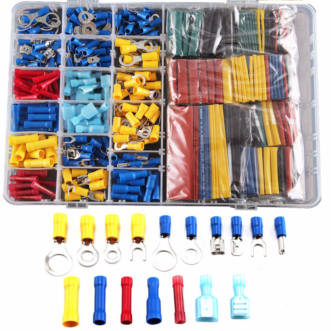 558 pcs PVC&copper Heat Shrink Tube Sleeving Kit Car Wire Electrical Terminals Crimp Connectors with Plastic Box Drop Shopping