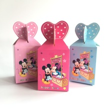 50pcs Baby Shower Gift Box Candy Box Kids Favor Boxes Minnie/Mickey Mouse Birthday Party Supplies Decorations