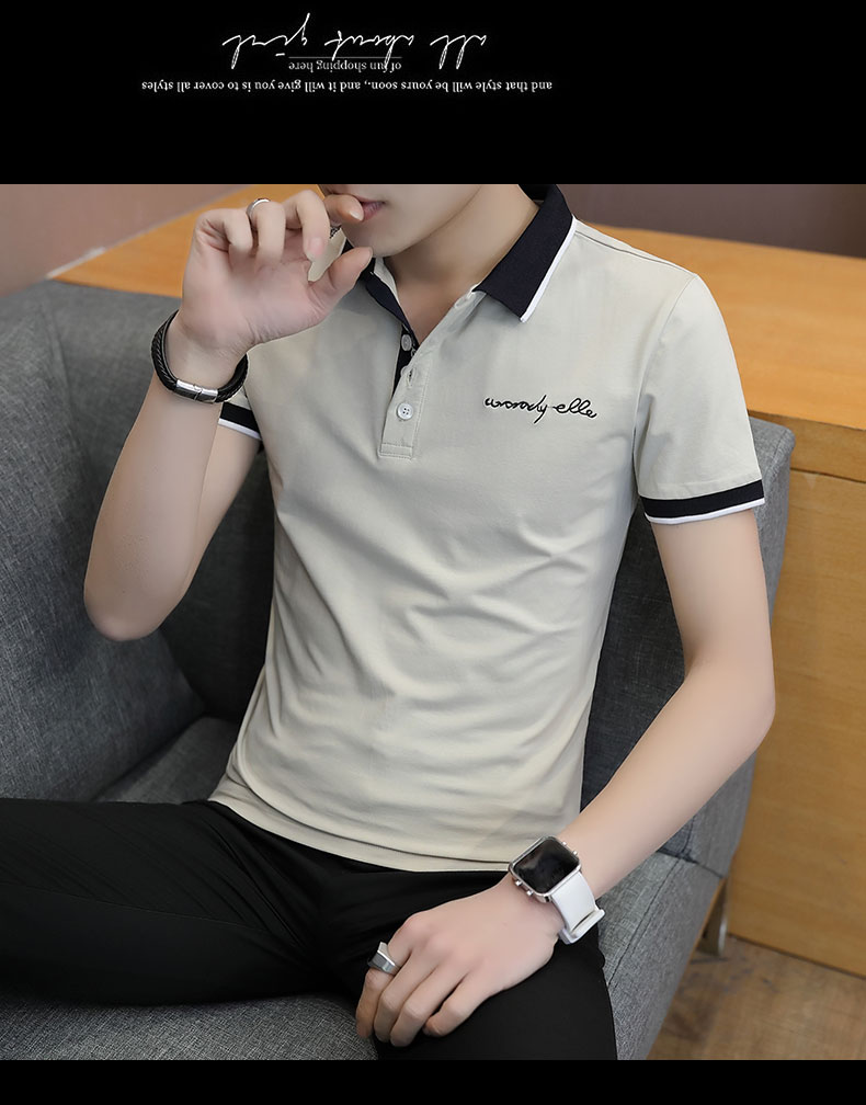 Short-sleeved T-shirt men's fashion casual cotton clothes decorated with multi-color optional 103