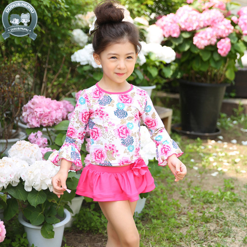 2017 Baby girls swimsuit children floral Swimwear Summer Beach Bathing Suit Two Pieces C ...