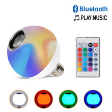 Smart E27 RGB Bluetooth Speaker LED Bulb Light AC110-265V Music Playing Dimmable Wireless Led Lamp with 24 Keys Remote Control цена 2017
