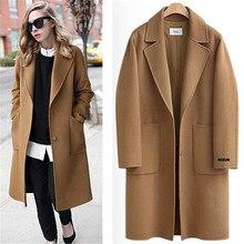 e3d2b4f38c498c Purebliss 2018 frauen kamel blends mantel winter woolen lange mantel  zweireiher kaschmir elegante blendwomen lange mantel