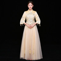 ad87a526a9e9ab Chinese Traditional Qipao Champagne Wedding Dress Women Flower Embroidery Cheongsam  Vintage Handmade Beads Ball Gowns Vestidos