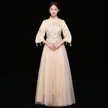 Chinese Traditional Qipao Champagne Wedding Dress Women Flower Embroidery Cheongsam Vintage Handmade Beads Ball Gowns Vestidos(China)