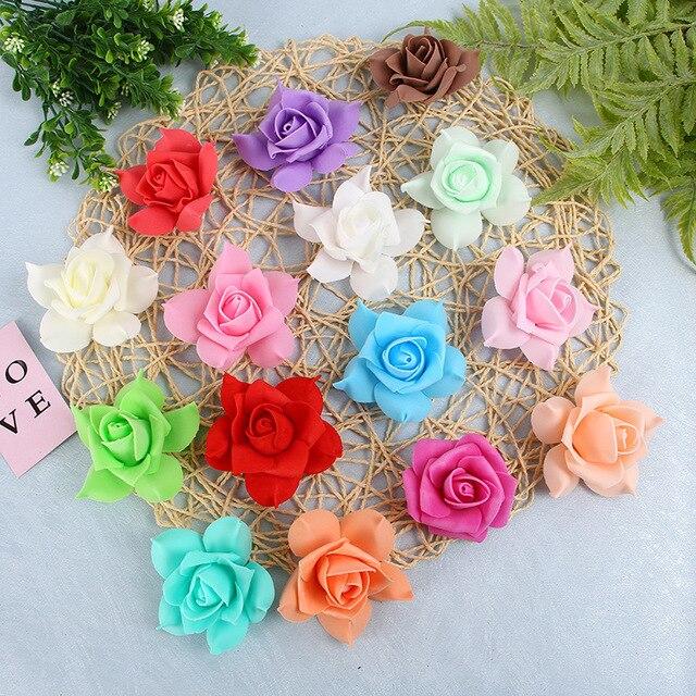 100Pcs Artificial 8cm PE Foam Rose Flower Heads Wedding Bouquet Party Home Decorative Wreath DIY Flower Ball Wedding Decoration