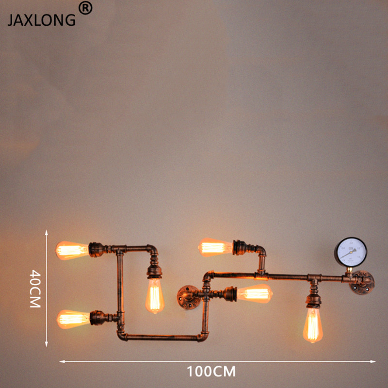 Steam punk Loft Industrial iron rust Water pipe retro wall lamp Vintage Loft decor lights for living room restaurant bar bedroom in Wall Lamps from Lights Lighting