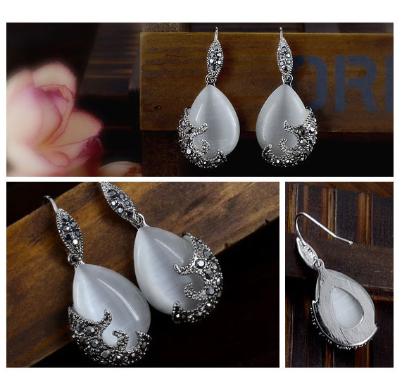 Nueva Retro Plata Moda Opal Gota de Agua Colgantes de Flores Collares - Bisutería - foto 2