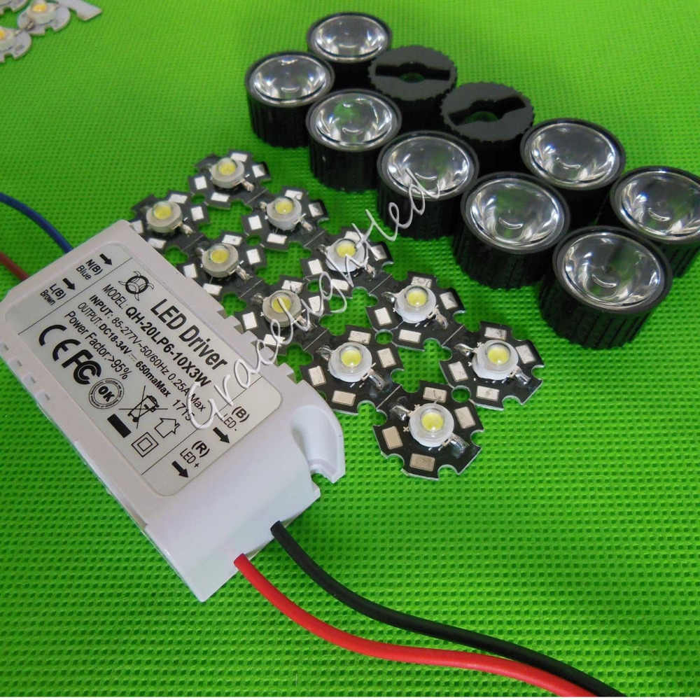 10X3 w Plant Groeien Volledige Spectrum 380-840nm High Power LED + lens + 6-10x3w driver + led len
