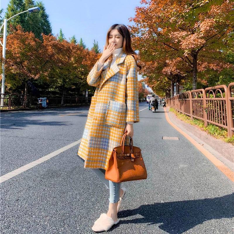 Hiver Casual Élégant Vintage Laine Plaid Poches Style Jaune Coréenne Manteaux Femmes 2018 Longue wFqdFRp