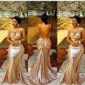 V Шеи Сексуальная Спинки Русалка Вечернее Платье Золото Блесток Bling Bling Sparkly Длинные Вечерние Платья халат де mariage