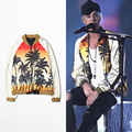 New Fashion California Beach COCO Silk Baseball Jacket justin bieber Thin Jackets Men Coats