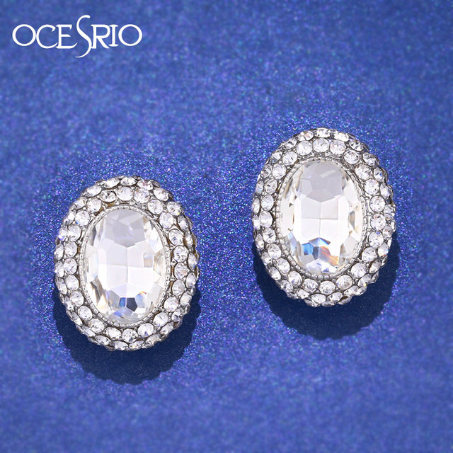 Ocesrio Crystal Clip Earrings Without Piercing Round Silver On With Stones Ear Clips