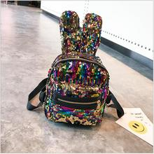 2018 New Children PU Cute Rabbit Ear Shape Mini Shining Sequins Backpack for Baby Girls Fashion For Lady Shoulder Bags.