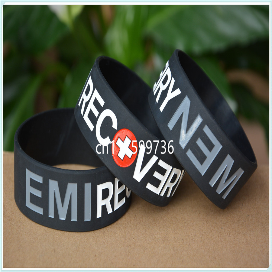 "1piece Eminem 1"" Wide Band Bangle Silicone Bracelet Wristband Ample Supply And Prompt Delivery"