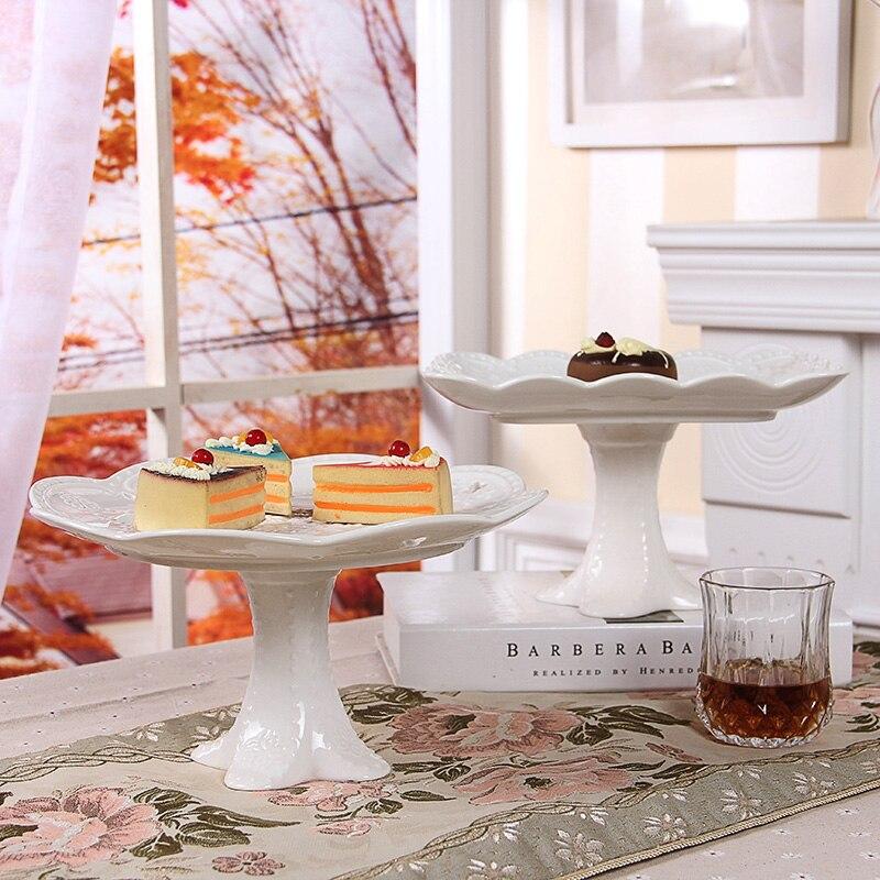 Eurpoe Advanced White Bone China Cake Stand Dishes And Plates Porcelain Luxury Pastry Fruit Dish Tray
