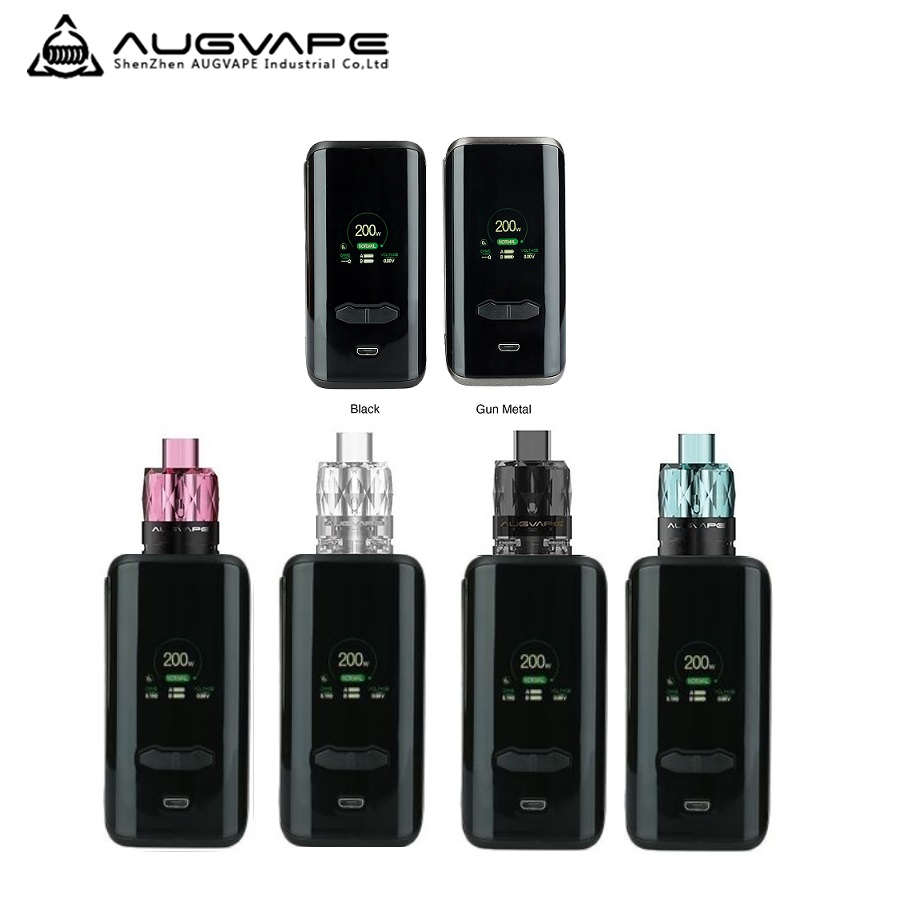 New Original Augvape VX200 Vape Box Mod Max 200W No 18650 Battery Mod Box Firmware Upgradeable Vs Shogun / Revenger X / Luxe Mod