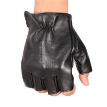 MenS Leather Half Finger Gloves Locomotive Driving Non-Slip Fitness Cowhide Men NAN48-5