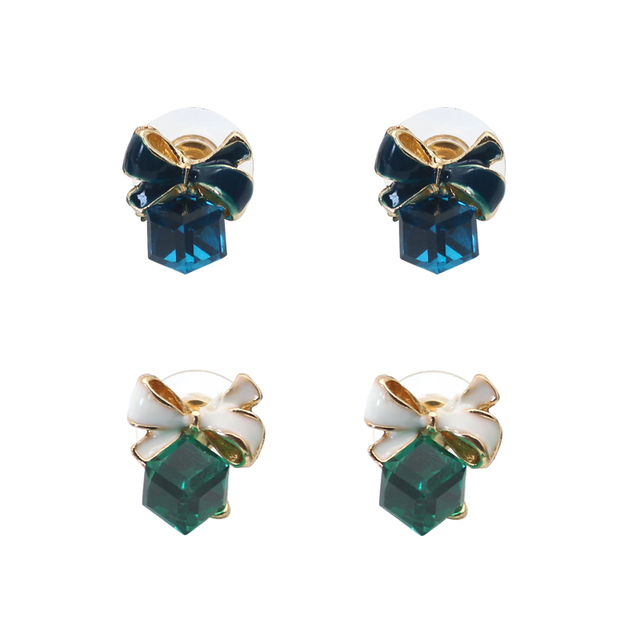 Cubic Zirconia Stud Earrings For Women Gold Bow Tie Fashion Jewelry Vintage