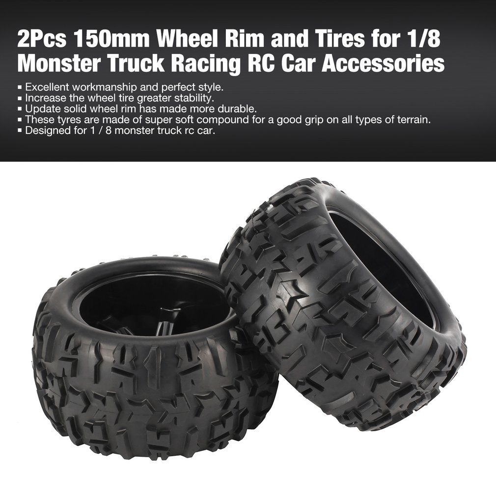 Image 2 - 4Pcs 150mm Wheel Rim and Tires for 1/8 Monster Truck Traxxas HSP HPI E MAXX Savage Flux Racing RC Car Model Toys Hobby Parts-in Parts & Accessories from Toys & Hobbies
