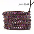 Новые 2016 кожа тканые очаровательный фиолетовый камень бисера симпатичные браслет бесконечности браслет браслеты для мужчин и женщин JBN-9067