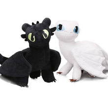 2pcs/set 35cm How to Train Your Dragon 3 Plush Toys White Toothless Night Fury Meatlug Stormfly Light Fury Stuffed Animal Dolls(China)